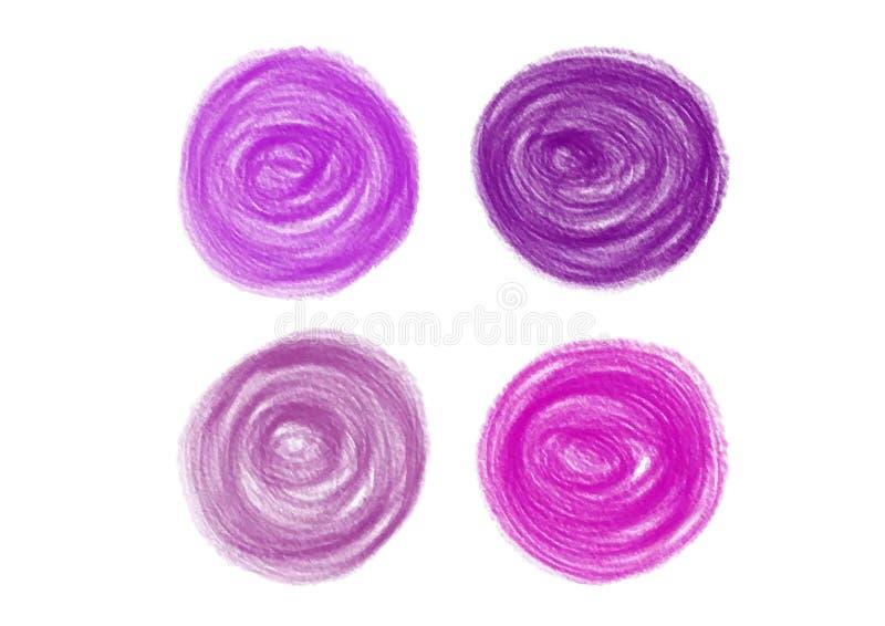 Το κραγιόνι χρωμάτισε τα στοιχεία σχεδίου μορφής κύκλων, σύσταση ζωγραφικής χεριών, διανυσματική απεικόνιση ελεύθερη απεικόνιση δικαιώματος