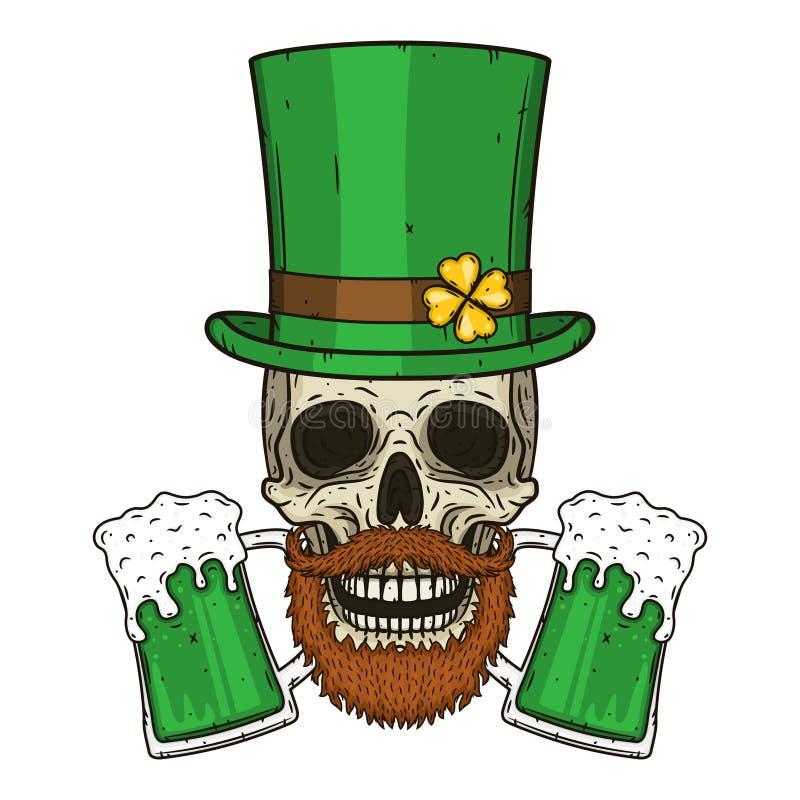 Το κρανίο Αγίου Πάτρικ ` s με τα πράσινα φύλλα καπέλων και τριφυλλιού Ιρλανδικό κρανίο Διάνυσμα κρανίων StPatrick απεικόνιση αποθεμάτων