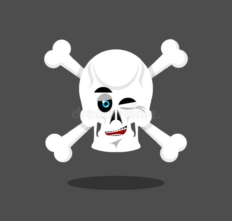Το κρανίο γέλιου κλείνει το μάτι συγκίνηση crossbones Εύθυμο κεφάλι σκελετών απεικόνιση αποθεμάτων