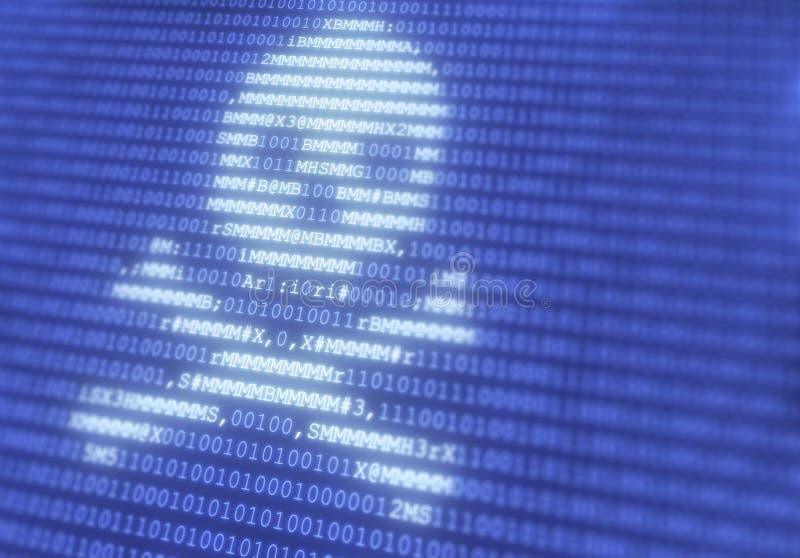 Το κρανίο με τα κόκκαλα έκανε από τις επιστολές στο μπλε υπόβαθρο επικαλύψεων δυαδικού κώδικα στην επίδειξη υπολογιστών - πειρατε στοκ φωτογραφία με δικαίωμα ελεύθερης χρήσης