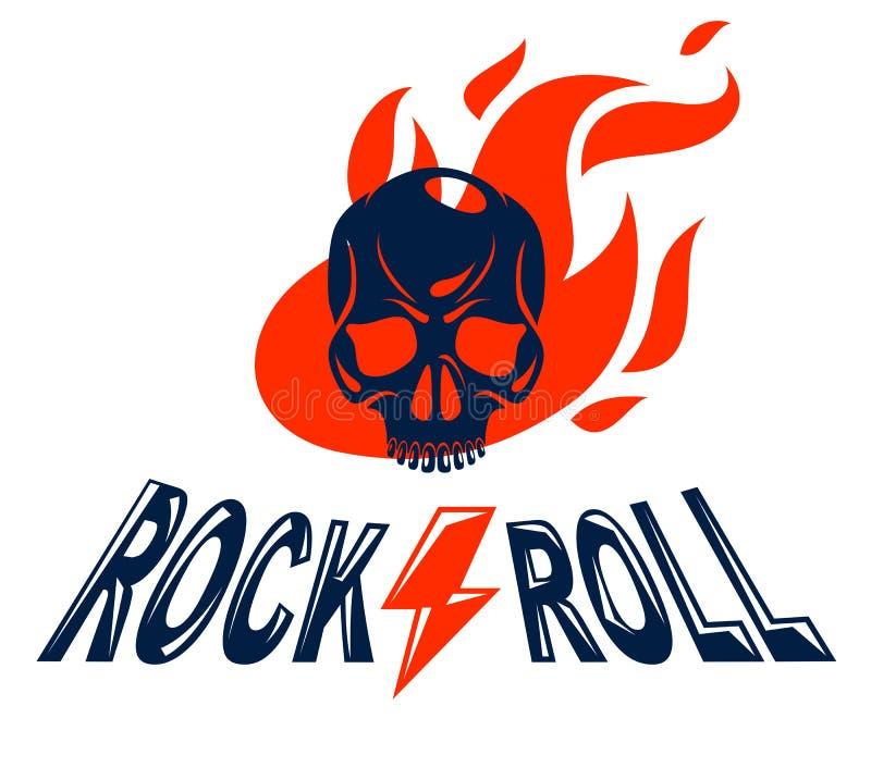 Το κρανίο σε ένα διανυσματικό λογότυπο ή ένα έμβλημα μουσικής σκληρής ροκ φλογών, επιθετικό νεκρό κεφάλι κρανίων στο βράχο πυρκαγ διανυσματική απεικόνιση