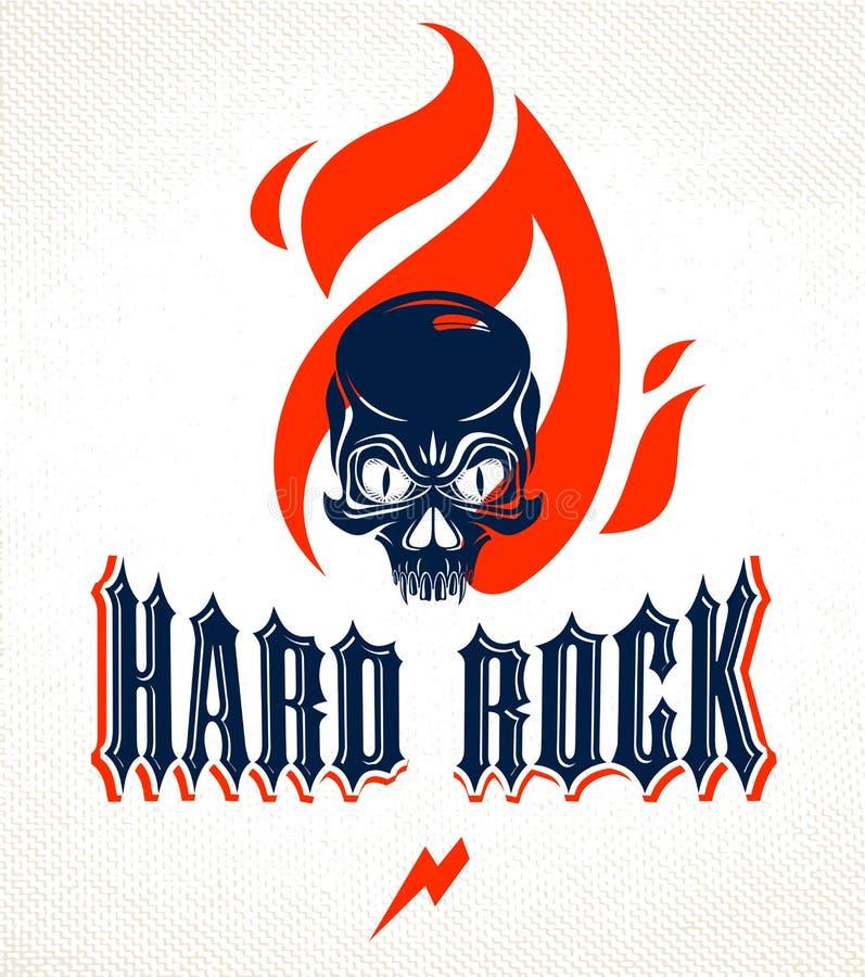 Το κρανίο σε ένα διανυσματικό λογότυπο ή ένα έμβλημα μουσικής σκληρής ροκ φλογών, επιθετικό νεκρό κεφάλι κρανίων στο βράχο πυρκαγ απεικόνιση αποθεμάτων