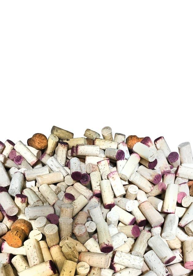 Το κρασί βουλώνει την άσπρη κατακόρυφο υποβάθρου στοκ φωτογραφίες