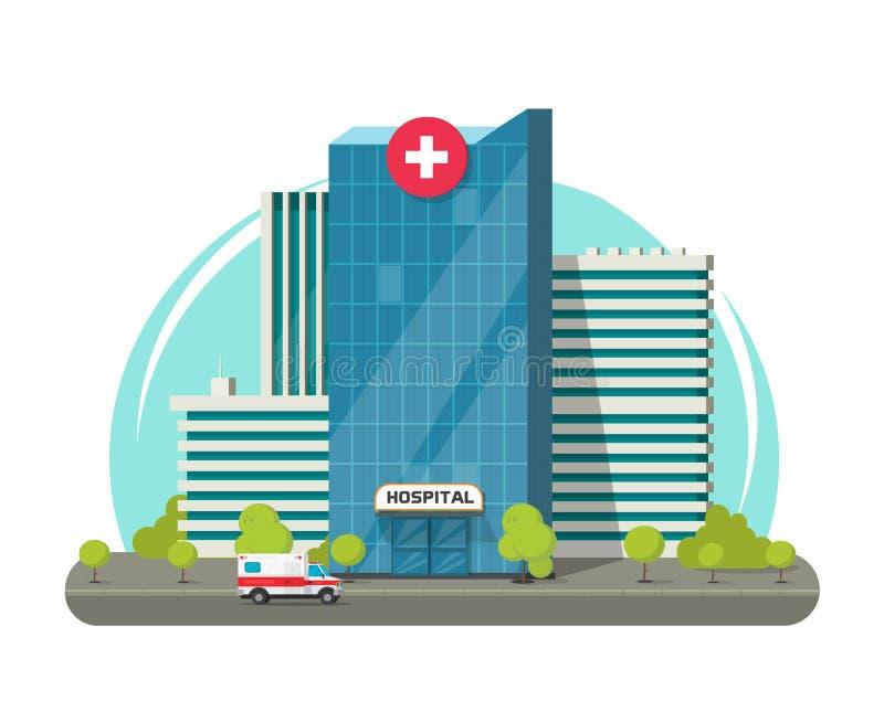 Το κτήριο νοσοκομείων απομόνωσε τη διανυσματική απεικόνιση, το επίπεδη σύγχρονη ιατρικό κέντρο ή την κλινική κινούμενων σχεδίων c απεικόνιση αποθεμάτων