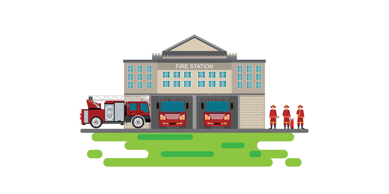 Το κτήριο πυροσβεστικών σταθμών με το φορτηγό πυροσβεστικών αντλιών οχημάτων έκτακτης ανάγκης και το εικονίδιο ατόμων πυρκαγιάς α ελεύθερη απεικόνιση δικαιώματος