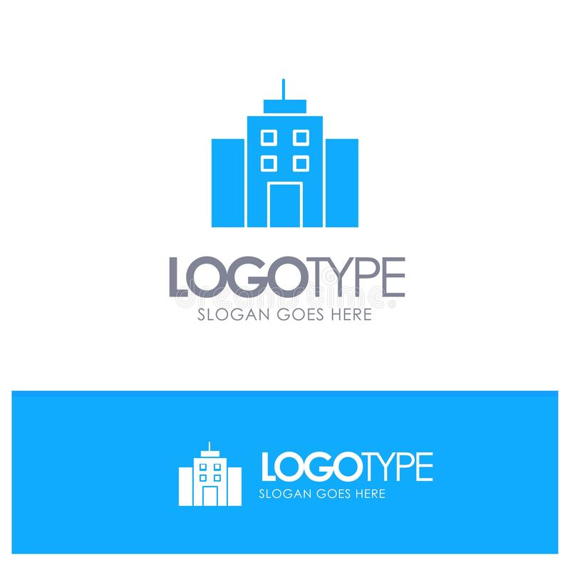 Το κτήριο, χρήστης, γραφείο, διασυνδέει το μπλε στερεό λογότυπο με τη θέση για το tagline απεικόνιση αποθεμάτων