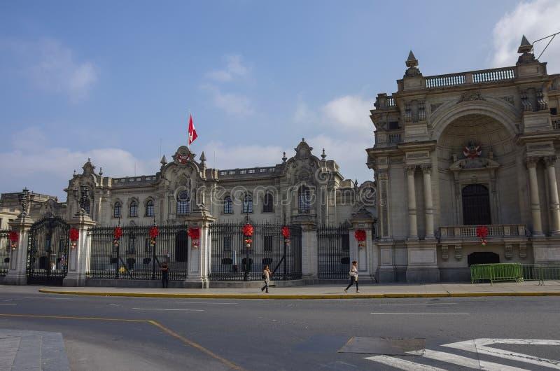 Το κυβερνητικό παλάτι γνωστό ως σπίτι Pizarro, Plaza de Arm στοκ φωτογραφία με δικαίωμα ελεύθερης χρήσης