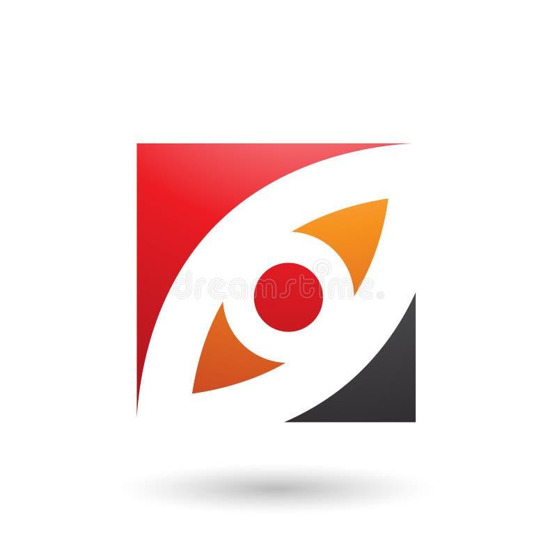 Το κόκκινα πορτοκάλι και το μαυρισμένο μάτι διαμόρφωσαν την τετραγωνική διανυσματική απεικόνιση ελεύθερη απεικόνιση δικαιώματος
