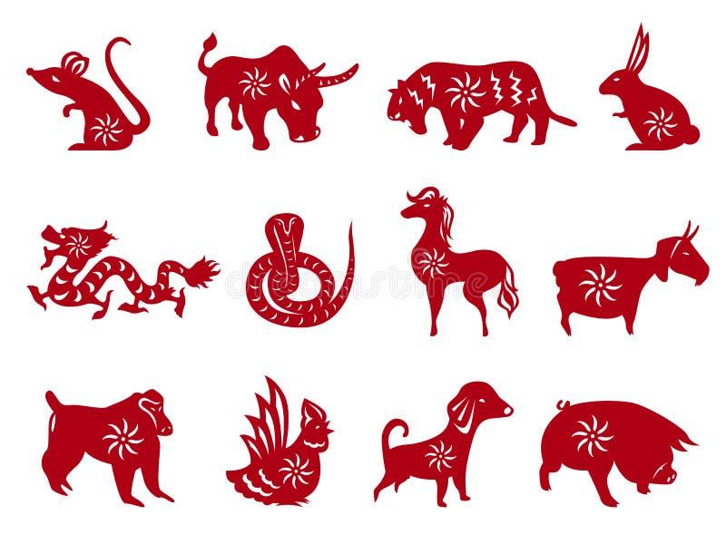 Το κόκκινο έγγραφο έκοψε όλα κινεζικά zodiacs υπογράφει το διανυσματικό καθορισμένο σχέδιο ελεύθερη απεικόνιση δικαιώματος