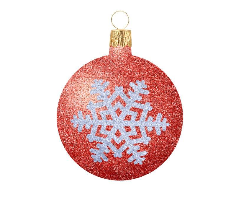 Το κόκκινο ακτινοβολεί σφαίρα Χριστουγέννων με snowflake που απομονώνεται στο λευκό στοκ φωτογραφίες