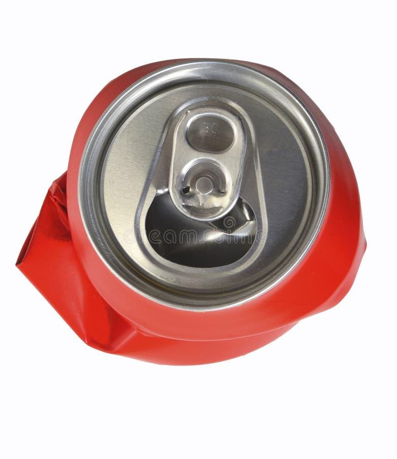 Το κόκκινο αργίλιο μπορεί ισιωμένος στοκ φωτογραφία με δικαίωμα ελεύθερης χρήσης