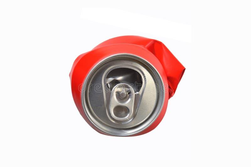 Το κόκκινο αργίλιο μπορεί ισιωμένος στοκ φωτογραφίες