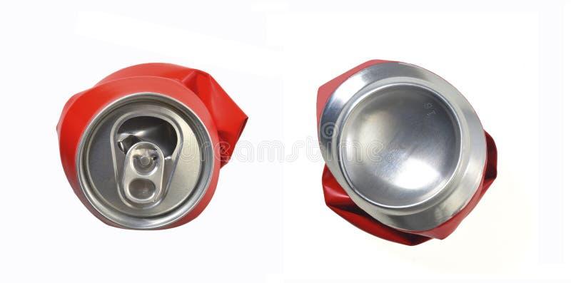 Το κόκκινο αργίλιο μπορεί ισιωμένος στοκ εικόνες με δικαίωμα ελεύθερης χρήσης