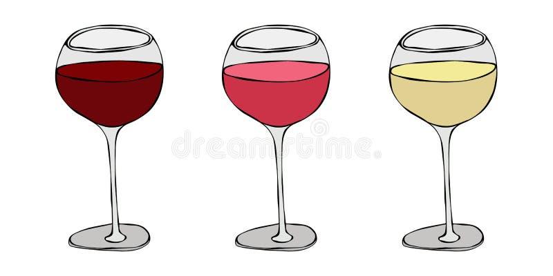 Το κόκκινο, αυξήθηκε και άσπρη άμπελος σε ένα γυαλί Συρμένη χέρι διανυσματική απεικόνιση Ύφος Doodle Savoyar διανυσματική απεικόνιση