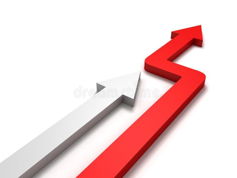 το κόκκινο ηγετών έννοιας επιχειρησιακού ανταγωνισμού βελών κερδίζει απεικόνιση αποθεμάτων