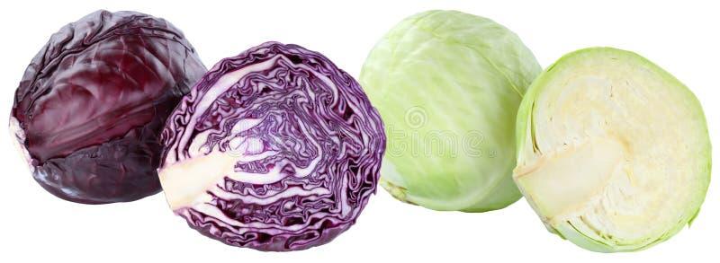 Το κόκκινο και άσπρο λάχανο τεμάχισε το φρέσκο λαχανικό τροφίμων που απομονώθηκε στοκ εικόνα με δικαίωμα ελεύθερης χρήσης