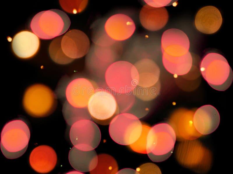 Το κόκκινο και κίτρινο θολωμένο υπόβαθρο νύχτας φω'των ζωηρόχρωμο με το σπινθήρισμα ακτινοβολεί επίδραση διανυσματική απεικόνιση