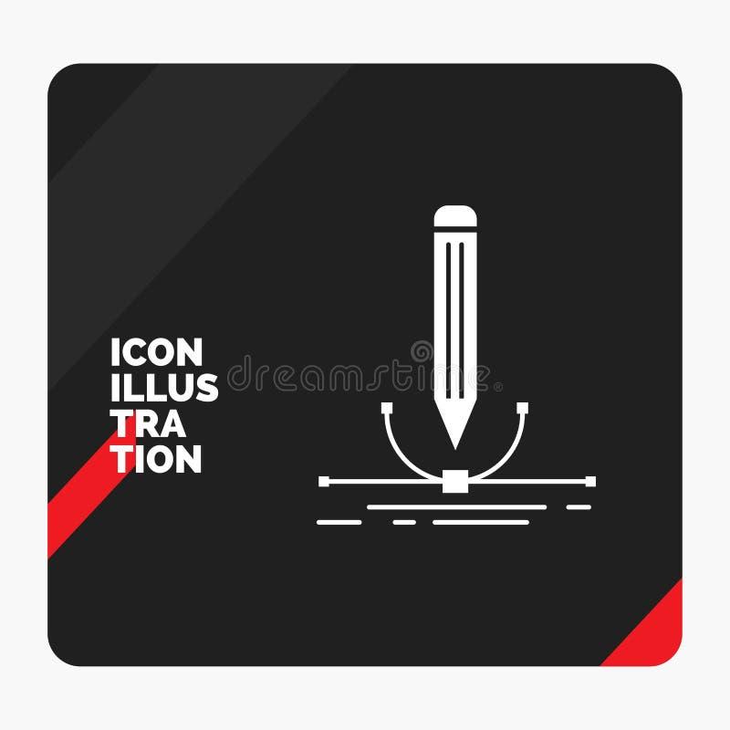 Το κόκκινο και μαύρο δημιουργικό υπόβαθρο παρουσίασης για την απεικόνιση, σχέδιο, μάνδρα, γραφική, σύρει το εικονίδιο Glyph διανυσματική απεικόνιση