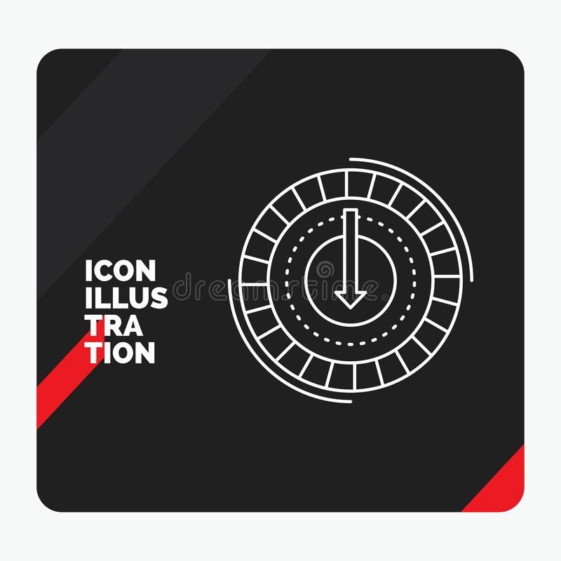 Το κόκκινο και μαύρο δημιουργικό υπόβαθρο παρουσίασης για την κατανάλωση, κόστος, δαπάνη, χαμηλότερη, μειώνει το εικονίδιο γραμμώ διανυσματική απεικόνιση