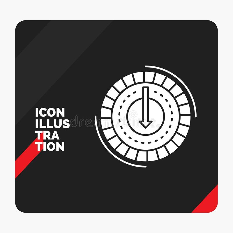 Το κόκκινο και μαύρο δημιουργικό υπόβαθρο παρουσίασης για την κατανάλωση, κόστος, δαπάνη, χαμηλότερη, μειώνει το εικονίδιο Glyph διανυσματική απεικόνιση