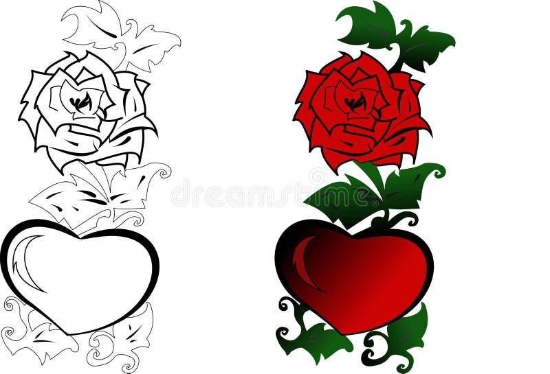 το κόκκινο καρδιών αυξήθη& διανυσματική απεικόνιση
