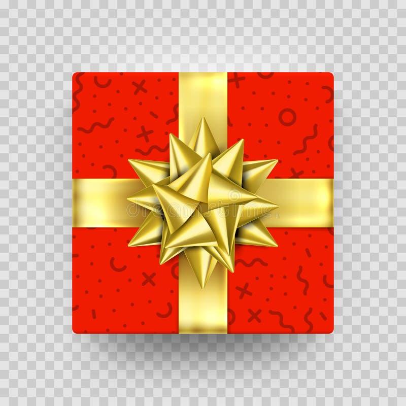Το κόκκινο κιβωτίων δώρων Χριστουγέννων παρόν στο χρυσό τόξο κορδελλών και το τυλίγοντας έγγραφο διέστιξε το σχέδιο Κιβώτιο δώρων διανυσματική απεικόνιση