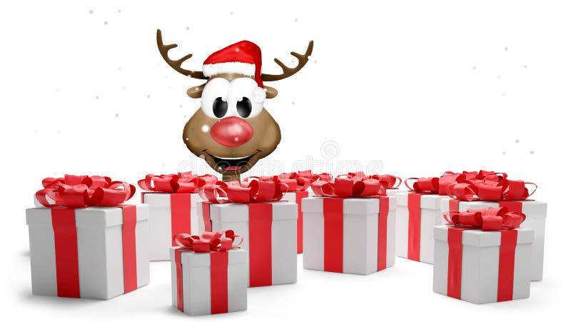 Το κόκκινο λευκό Χριστουγέννων παρουσιάζει την τρισδιάστατος-απεικόνιση με το χαριτωμένο τάρανδο ελεύθερη απεικόνιση δικαιώματος