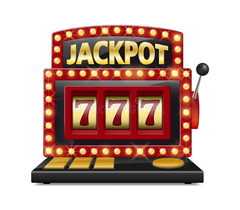 Το κόκκινο μηχάνημα τυχερών παιχνιδιών με κέρματα κερδίζει το τζακ ποτ που απομονώνεται στο άσπρο υπόβαθρο Η χαρτοπαικτική λέσχη  διανυσματική απεικόνιση