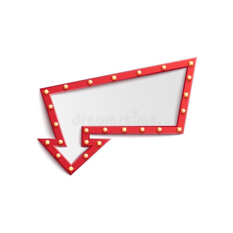 Το κόκκινο πλαίσιο σημαδιών βελών lightbulb με τα μικρά αναδρομικά φω'τα, χαρτοπαικτική λέσχη παρουσιάζει, τσίρκο ή διαφήμιση λεσ διανυσματική απεικόνιση
