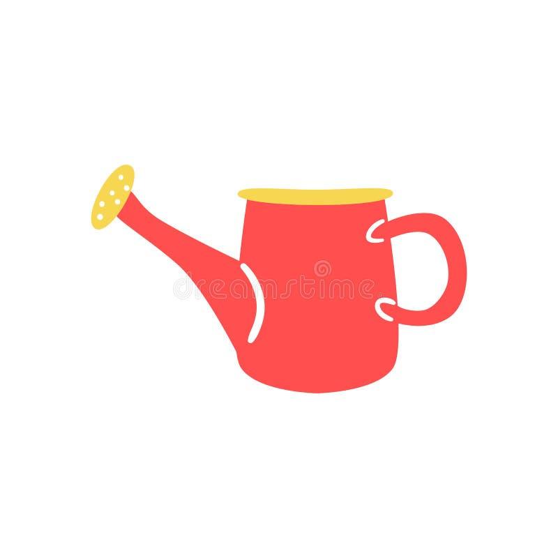 Το κόκκινο πλαστικό πότισμα μπορεί σε επίπεδο να ορίσει - χαριτωμένο σύμβολο του εργαλείου κηπουρικής και καλλιέργειας για να χύσ διανυσματική απεικόνιση