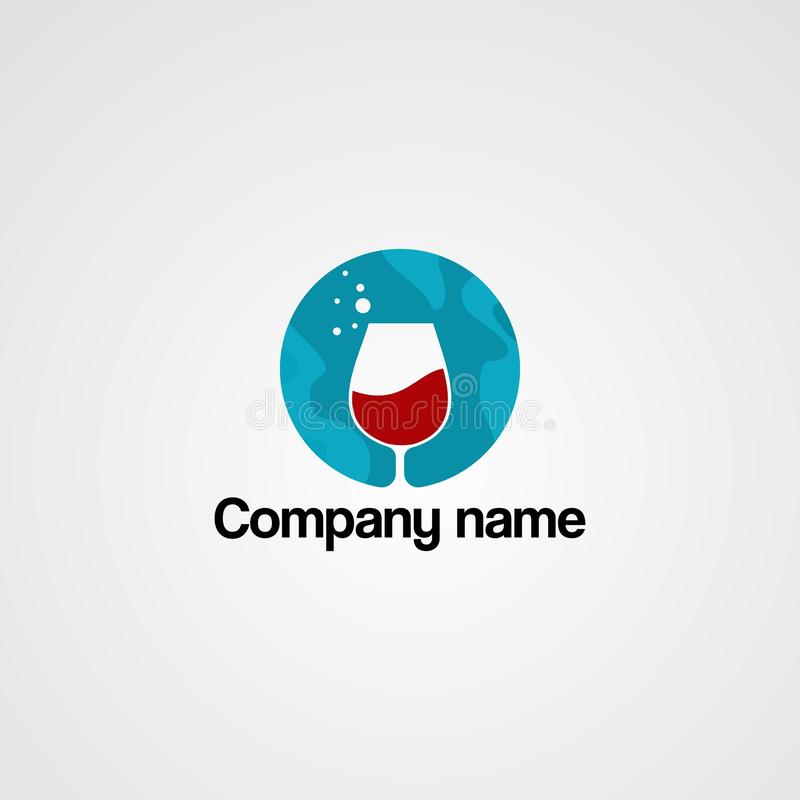 Το κόκκινο ποτό στον μπλε κύκλο και η πτώση ποτίζουν το διάνυσμα λογότυπων, το εικονίδιο, το στοιχείο, και το πρότυπο για την επι διανυσματική απεικόνιση