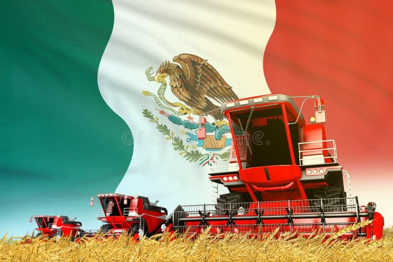 Το κόκκινο σιτάρι γεωργικό συνδυάζει τη θεριστική μηχανή στον τομέα με το υπόβαθρο σημαιών του Μεξικού, έννοια βιομηχανίας τροφίμ διανυσματική απεικόνιση