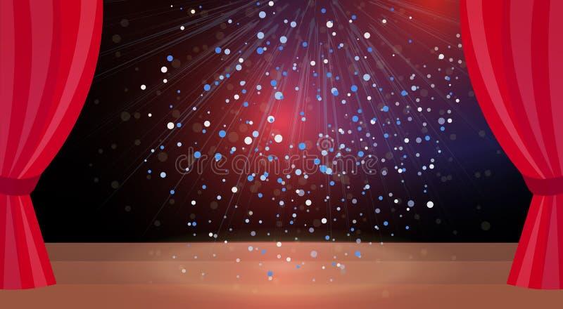 Το κόκκινο στάδιο σκηνής θεάτρων κουρτινών ζωηρόχρωμο ακτινοβολεί οριζόντιος κενός έννοιας παρουσίασης φω'των κανένας άνθρωπος διανυσματική απεικόνιση