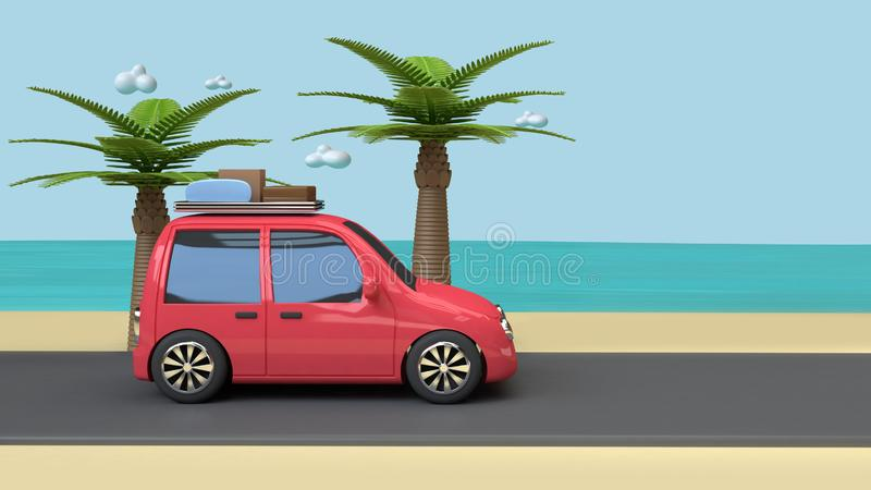 Το κόκκινο ταξίδι αυτοκινήτων στη θάλασσα μπλε ουρανού οδικών παραλιών με το ύφος κινούμενων σχεδίων δέντρων καρύδα-φοινικών τρισ διανυσματική απεικόνιση