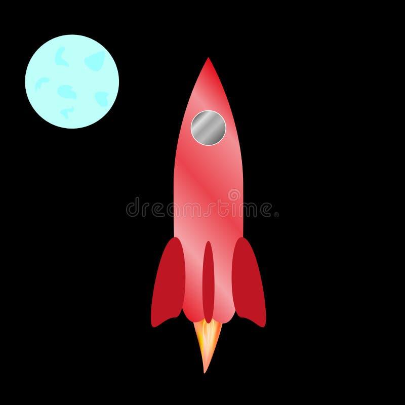 το κόκκινο χρώμα πυραύλων διάστημα επίσης corel σύρετε το διάνυσμα απεικόνισης διανυσματική απεικόνιση