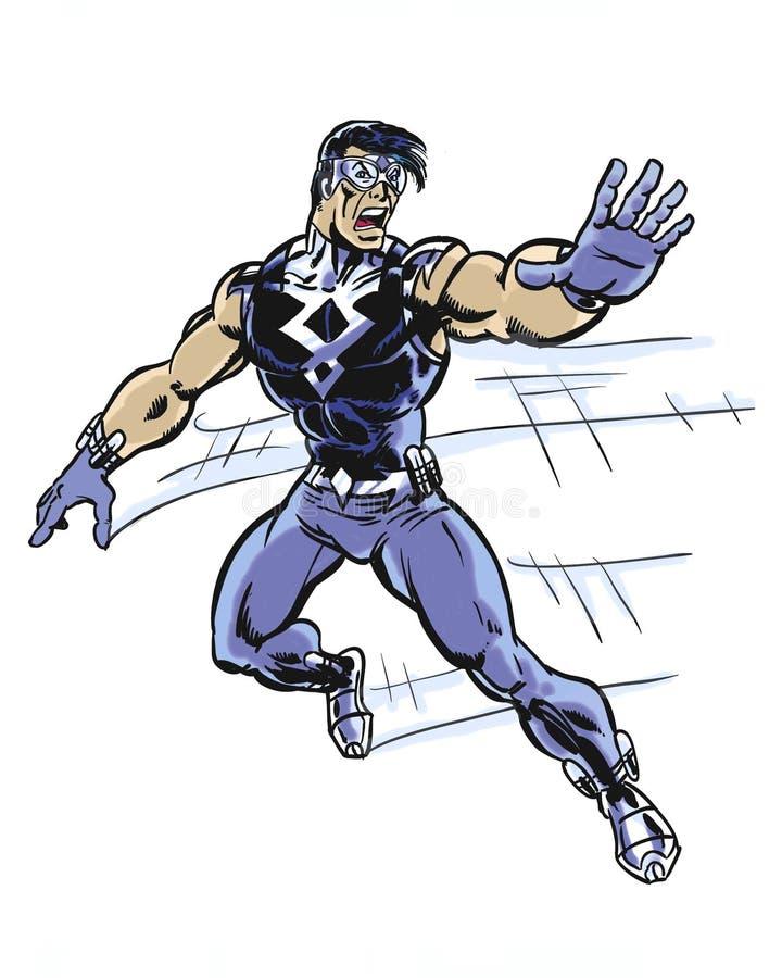 Το κόμικς επεξήγησε την προειδοποίηση superhero speedster τρέχοντας διανυσματική απεικόνιση