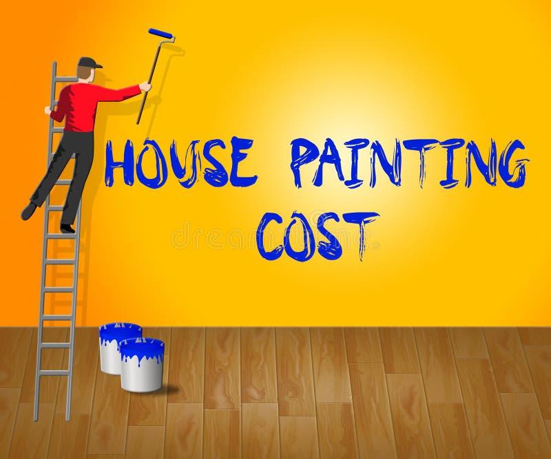 Το κόστος ζωγραφικής σπιτιών παρουσιάζει στο χρώμα σπιτιών τρισδιάστατη απεικόνιση ελεύθερη απεικόνιση δικαιώματος