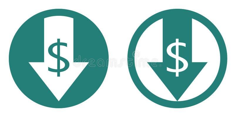 Το κόστος μειώνει το διανυσματικό εικονίδιο ελεύθερη απεικόνιση δικαιώματος