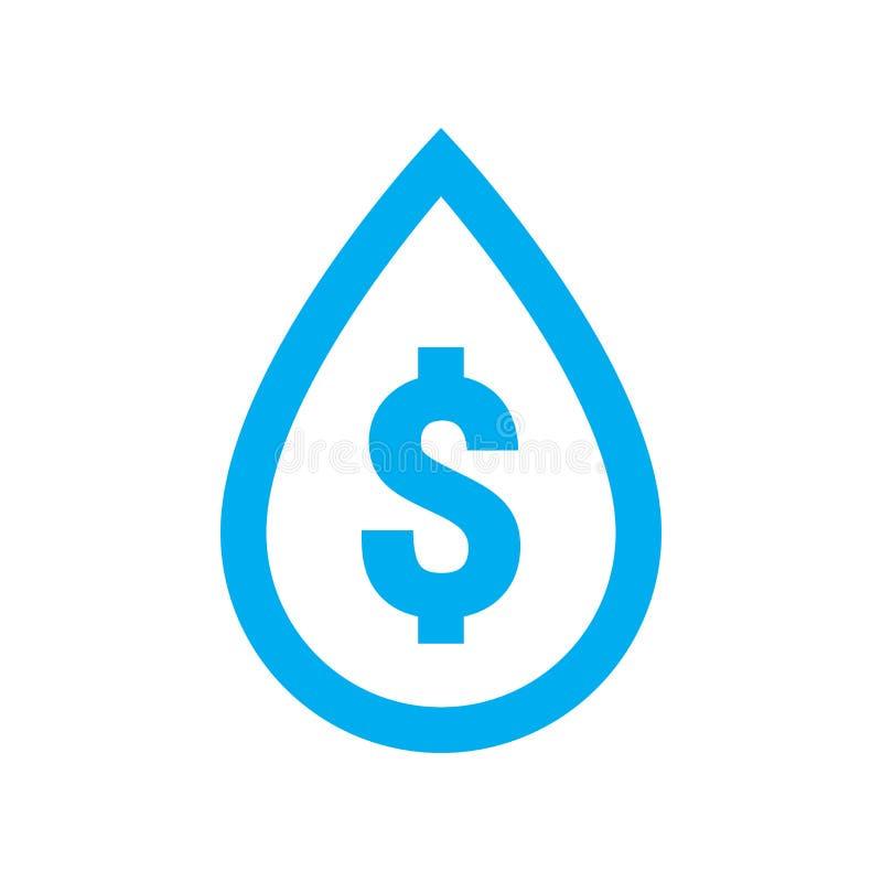 Το κόστος νερού και σώζει το εικονίδιο Μπλε σύμβολο δολαρίων στο σημάδι πτώσης νερού ελεύθερη απεικόνιση δικαιώματος