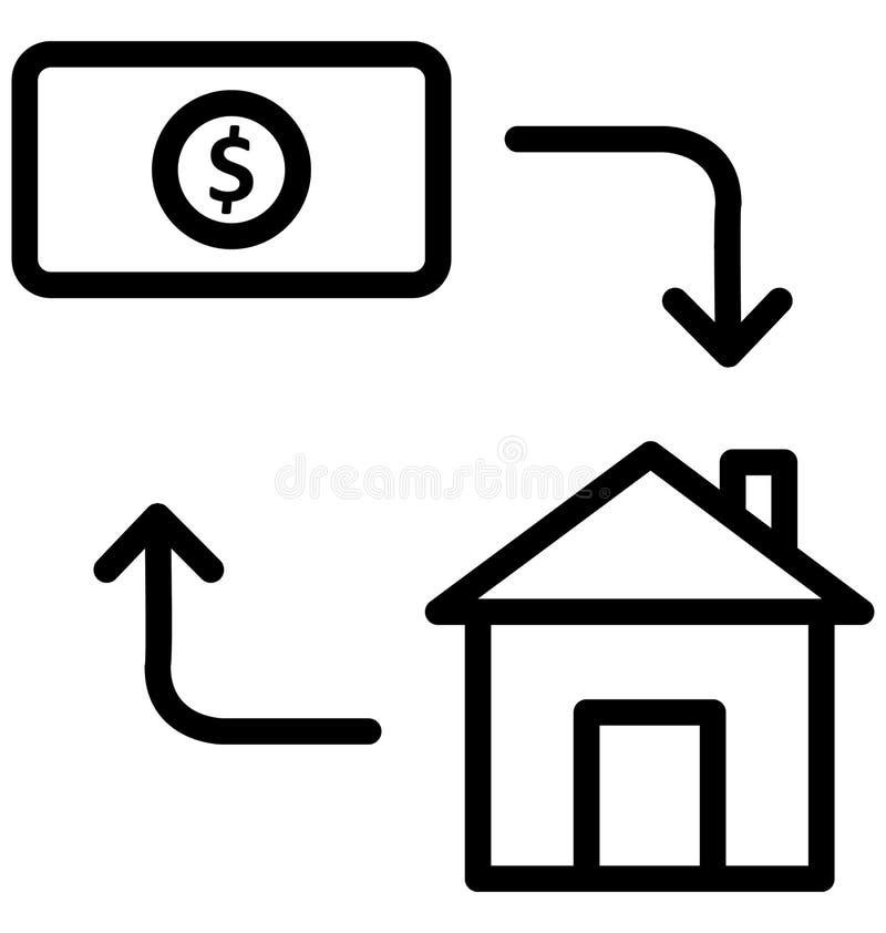 Το κόστος σπιτιών απομόνωσε το διανυσματικό εικονίδιο που μπορεί εύκολα να τροποποιήσει ή να εκδώσει διανυσματική απεικόνιση