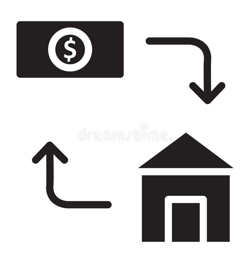 Το κόστος σπιτιών απομόνωσε το διανυσματικό εικονίδιο που μπορεί εύκολα να τροποποιήσει ή να εκδώσει απεικόνιση αποθεμάτων