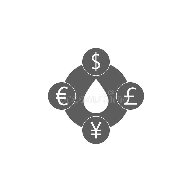το κόστος του πετρελαίου στο διαφορετικό εικονίδιο νομισμάτων Στοιχείο του εικονιδίου πετρελαίου και φυσικού αερίου Γραφικό εικον ελεύθερη απεικόνιση δικαιώματος
