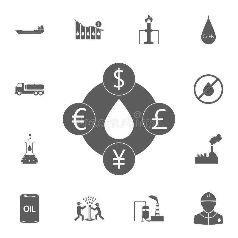το κόστος του πετρελαίου στο διαφορετικό εικονίδιο νομισμάτων Λεπτομερές σύνολο εικονιδίων πετρελαίου Γραφικό σημάδι σχεδίου εξαι διανυσματική απεικόνιση
