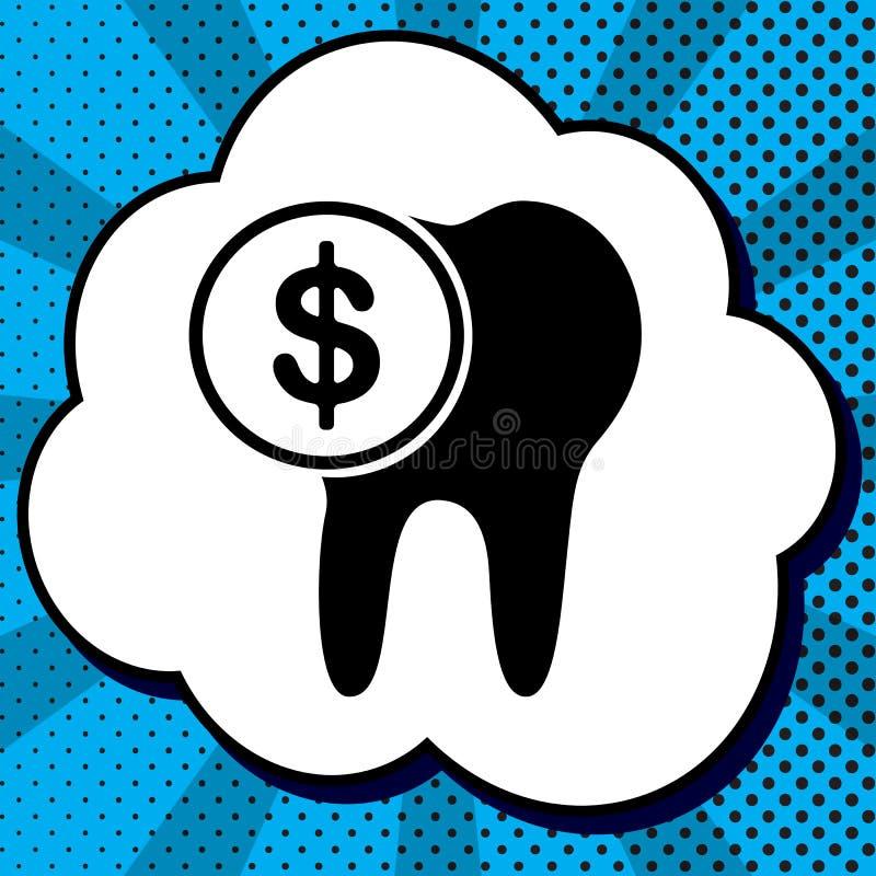 Το κόστος του σημαδιού επεξεργασίας δοντιών διάνυσμα Μαύρο εικονίδιο στη φυσαλίδα ο διανυσματική απεικόνιση