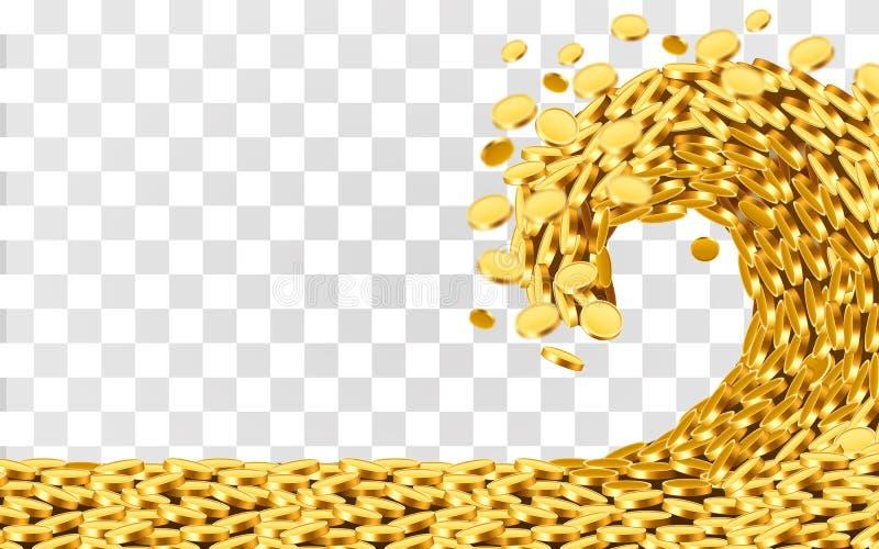 Το κύμα των χρημάτων Τεράστιο κύμα τσουνάμι των χρυσών νομισμάτων Έννοια τζακ ποτ ή επιτυχίας απεικόνιση αποθεμάτων