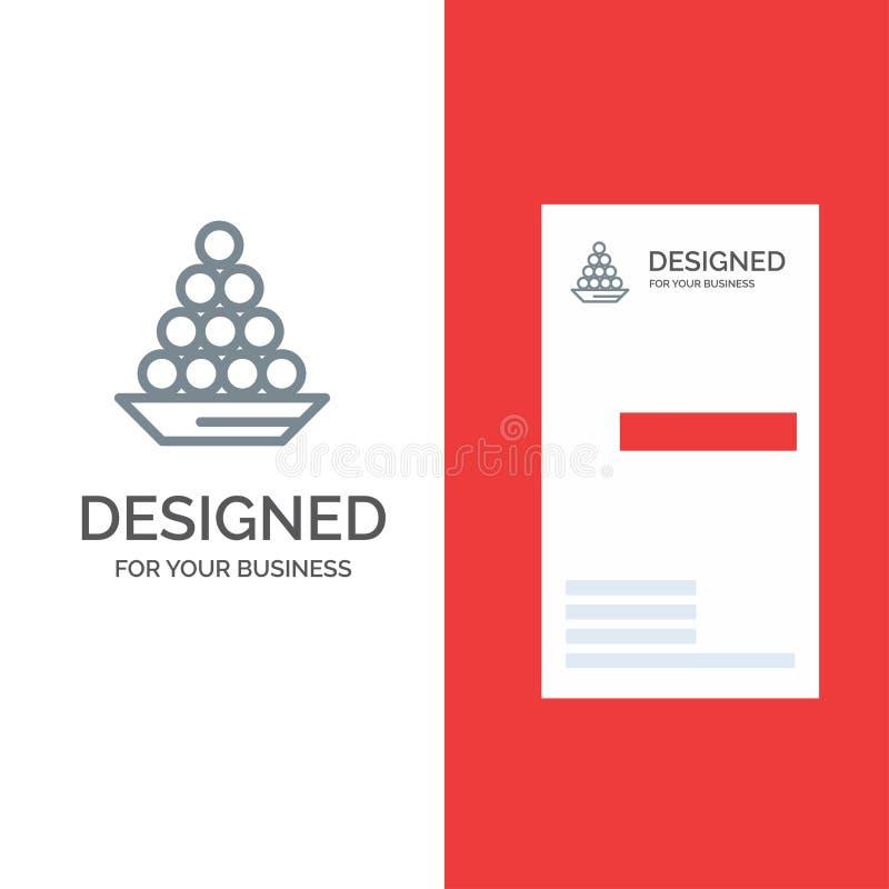 Το κύπελλο, λιχουδιά, επιδόρπιο, Ινδός, Laddu, γλυκό, μεταχειρίζεται το γκρίζο σχέδιο λογότυπων και το πρότυπο επαγγελματικών καρ διανυσματική απεικόνιση