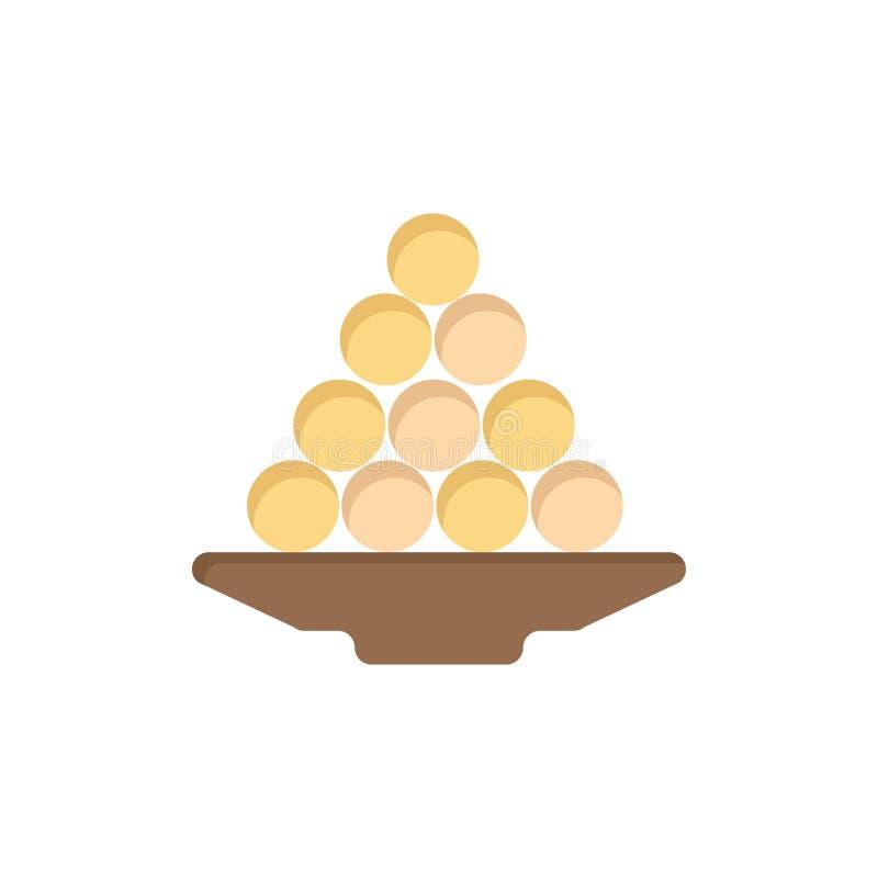 Το κύπελλο, λιχουδιά, επιδόρπιο, Ινδός, Laddu, γλυκό, μεταχειρίζεται το επίπεδο εικονίδιο χρώματος Διανυσματικό πρότυπο εμβλημάτω απεικόνιση αποθεμάτων