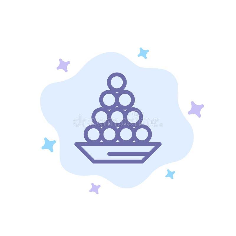 Το κύπελλο, λιχουδιά, επιδόρπιο, Ινδός, Laddu, γλυκό, μεταχειρίζεται το μπλε εικονίδιο στο αφηρημένο υπόβαθρο σύννεφων διανυσματική απεικόνιση