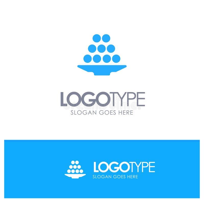 Το κύπελλο, λιχουδιά, επιδόρπιο, Ινδός, Laddu, γλυκό, μεταχειρίζεται το μπλε στερεό λογότυπο με τη θέση για το tagline απεικόνιση αποθεμάτων