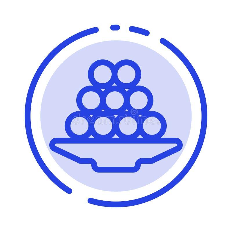 Το κύπελλο, λιχουδιά, επιδόρπιο, Ινδός, Laddu, γλυκό, μεταχειρίζεται το μπλε εικονίδιο γραμμών διαστιγμένων γραμμών ελεύθερη απεικόνιση δικαιώματος